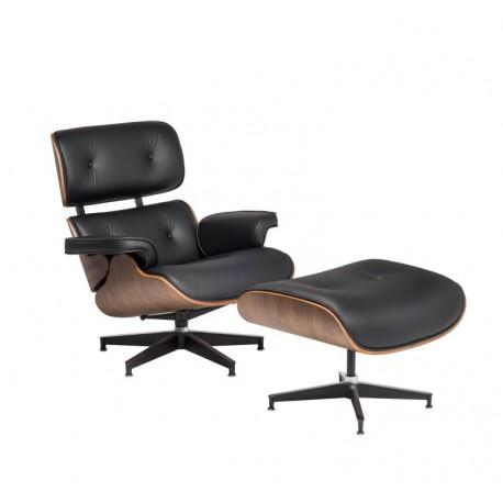 Wypoczynkowy Fotel TOKYO z podnóżkiem czarna skóra